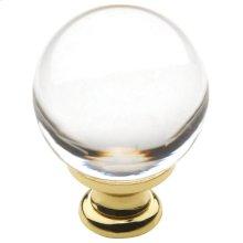 Polished Brass Crystal Cabinet Knob