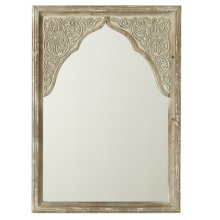 Distressed Ivory Wall Mirror with Scroll Carving & Arch.