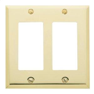 Polished Brass Beveled Edge Double GFCI Product Image