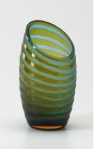 Small Angle Cut Etched Vase Cyan and Orange Chiseled Glass Product Image