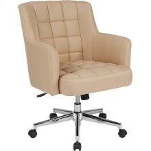 Laone Home and Office Upholstered Mid-Back Chair in Beige Fabric
