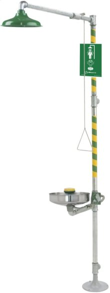 Wheel Chair Accessible Combination Eye/Face Wash and Safety Drench Shower with Stainless Steel Pull Rod