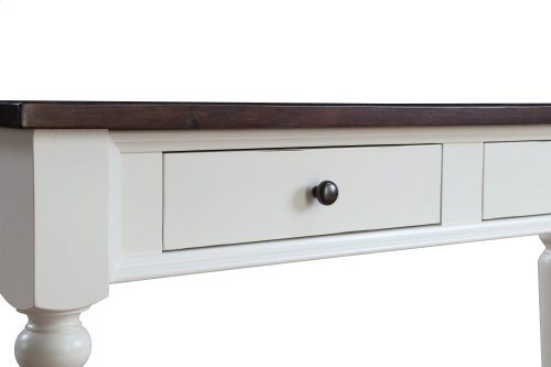 Emerald Home Mountain Retreat 2 Drawer Sofa Table Antique White Base W/brown Rustic Plank Top T6014