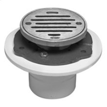 """4"""" Round Complete Shower Drain - PVC - Brushed Nickel"""