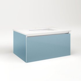 "Cartesian 30-1/8"" X 15"" X 21-3/4"" Single Drawer Vanity In Ocean With Slow-close Plumbing Drawer and No Night Light"