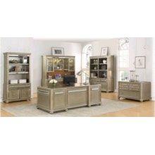 Ritzville Metallic Platinum Double Bookcase
