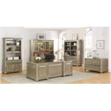 Ritzville Metallic Platinum Double Bookcase