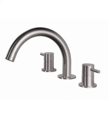 Three hole faucet with low round spout