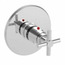 Satin Brass - PVD Round Thermostatic Trim Plate with Handle
