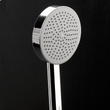 "Hand-held round shower head with 59"" flexible hose, rain jet."