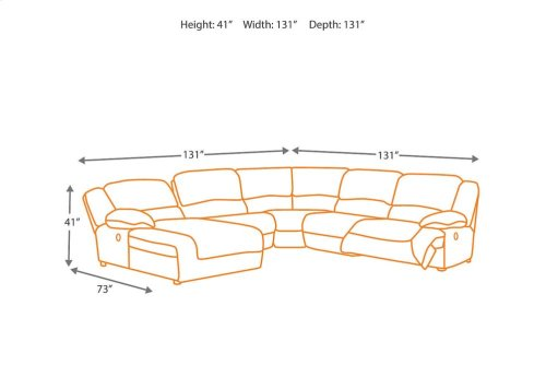 6-Piece Reclining Sectional with RAF Recliner