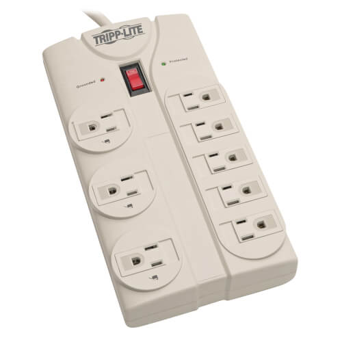Protect It! 8-Outlet Surge Protector, 8 ft. Cord with Right-Angle Plug, 1440 Joules, Diagnostic LEDs, Light Gray Housing