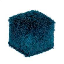 Lamb Fur Pouf Blue