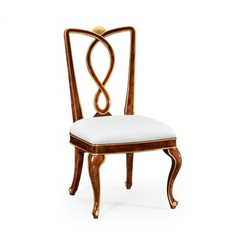Antique Mahogany Brown Dining Side Chair - COM