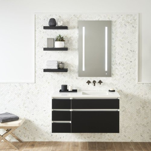 "Cartesian 36-1/8"" X 7-1/2"" X 18-3/4"" Slim Drawer Vanity In Tinted Gray Mirror With Slow-close Plumbing Drawer and Night Light In 5000k Temperature (cool Light)"