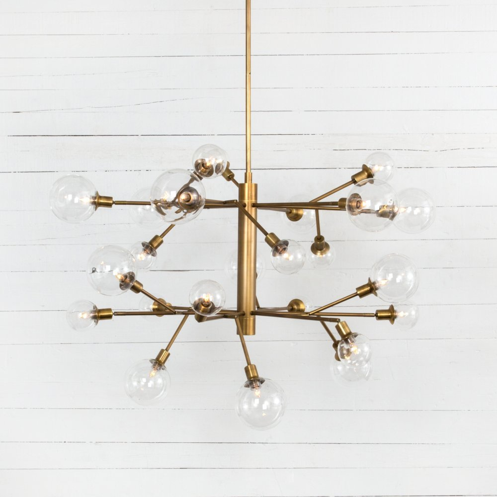 Matte Brass Finish Pellman 2 Tier Chandelier