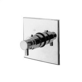 Flat Black Square Thermostatic Trim Plate with Handle