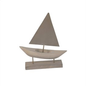 Wood/silver Sailboat On Stand