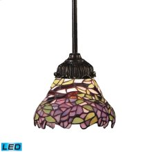 Mix-N-Match 1-Light Mini Pendant in Tiffany Bronze and Tiffany Style Glass - Includes LED Bulb
