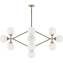 Visual Comfort S5024HAB/BLK-WG Ian K. Fowler Bistro 14 Light 52 inch Hand-Rubbed Antique Brass and Black Chandelier Ceiling Light in White Glass
