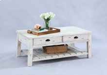 Rectangular Cocktail Table - Distressed White Finish