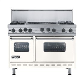 """Cotton White 48"""" Sealed Burner Self-Cleaning Range - VGSC (48"""" wide, four burners & 24"""" wide char-grill)"""