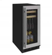 """1000 Series 15"""" Beverage Center With Stainless Frame Finish and Field Reversible Door Swing (115 Volts / 60 Hz)"""