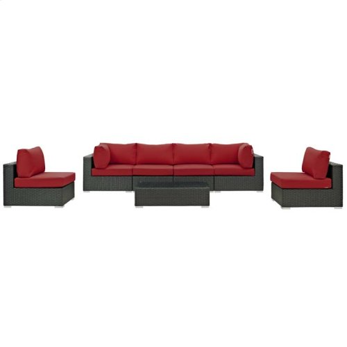 Sojourn 7 Piece Outdoor Patio Sunbrella® Sectional Set in Canvas Red