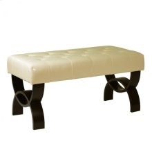 """Central Park 36"""" Tufted Cream Bonded Leather Ottoman"""
