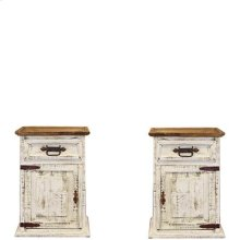 "Left : 20"" x 16"" x 28"" White Wash Nightstands"