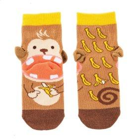Banana Monkey Heel Socks - Youth Shoe Size 8-13