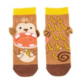 Banana Monkey Heel Socks - Youth Shoe Size 8-13