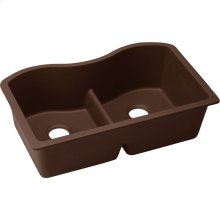 "Elkay Quartz Classic 33"" x 20"" x 9-1/2"", Equal Double Bowl Undermount Sink with Aqua Divide, Pecan"