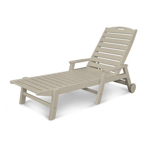 Sand Nautical Chaise with Arms & Wheels