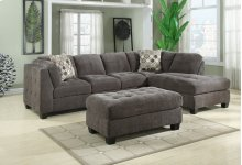 2-pc Sectional-gray-lsf Sofa-rsf Chaise W/2 Accent Pillows