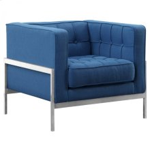 Armen Living Andre Contemporary Sofa Chair in Brushed Stainless Steel and Blue Fabric