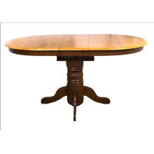 DLU-TBX4266-NLO Pedestal Dining Table  Nutmeg with Light Oak Finish Butterfly Top