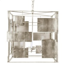 Champagne Silver Leaf Square Chandelier With Abstract Square & Rectangular Details.