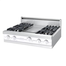 "White 36"" Sealed Burner Rangetop - VGRT (36"" wide, four burners 12"" wide griddle/simmer plate)"