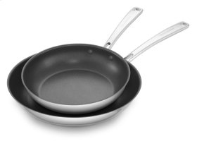 """Stainless Steel 10"""" and 12"""" Skillets Twin Pack - Polished Stainless Steel"""