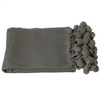Charcoal Grey Throw with Pom-Poms. Product Image