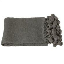Charcoal Grey Throw with Pom-Poms.