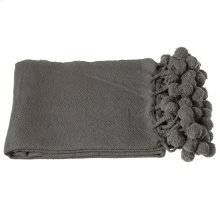 Charcoal Grey Throw with Pom-Poms.
