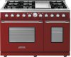 Range DECO 48'' Classic Red matte, Chrome 6 gas, griddle and 2 electric ovens