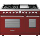 Range DECO 48'' Classic Red matte, Chrome 6 gas, griddle and 2 electric ovens Product Image