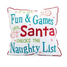 Whimsical Christmas Embroidered Pillow