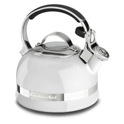 2.0-Quart Kettle with Full Stainless Steel Handle and Trim Band - White