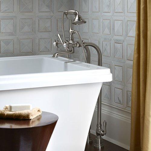 Traditional Floor Mount Bathtub Faucet with Landfair Cross Handles - Brushed Nickel
