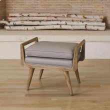 Lucas Long Bench-Grey Leather