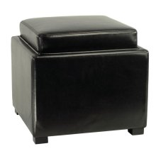 Bobbi Tray Storage Ottoman - Java / Black